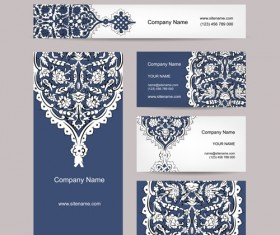 Floral style business cards kit vector 05