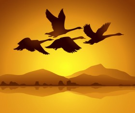 Flying swan with sunset background vector 02