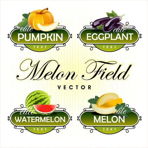 Fruit With Vegetables Labels Design Set 04 Free Download