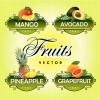 Fruit with vegetables labels design set 05