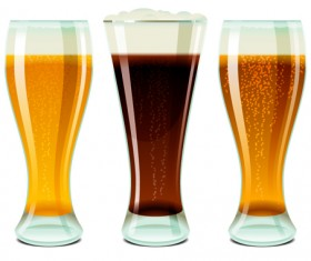 Glass cups with beer vector graphics 01