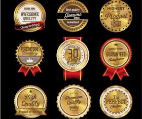 Golden textured badge vector material 01