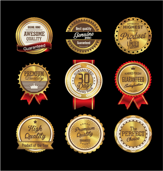 Golden textured badge vector material 01