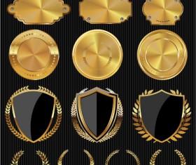 Golden textured badge vector material 02