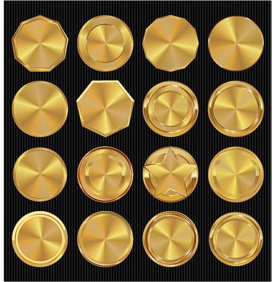 Golden textured badge vector material 03