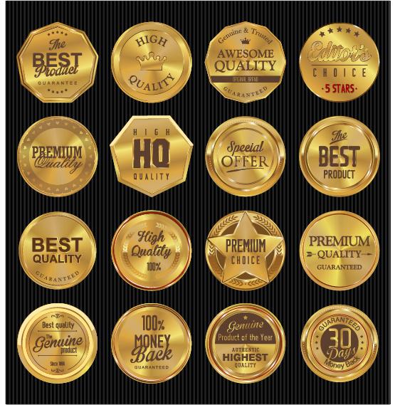 Golden textured badge vector material 04
