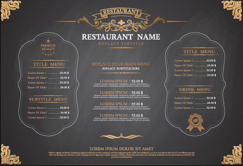 Gray Style Restaurant Menu Design Vector 01 Cover