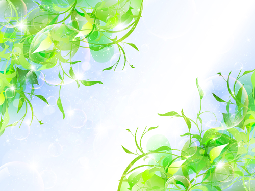 Halation bubble with green leaves vector background 01