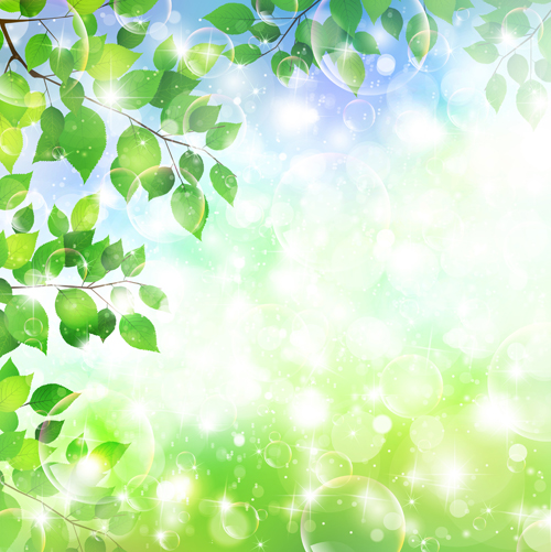 Halation bubble with green leaves vector background 02