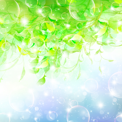 Halation bubble with green leaves vector background 03