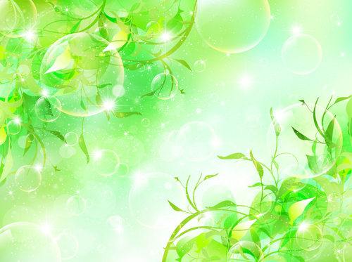 Halation bubble with green leaves vector background 05