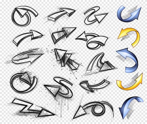 Hand drawn arrows abstract vector 02