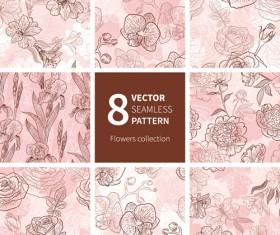 Hand drawn flower vector seamless patterns