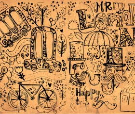 Hand drawn london romantic elements vector 01