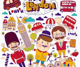 Hand drawn london romantic elements vector 02