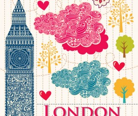 Hand drawn london romantic elements vector 03