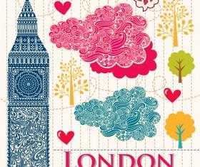 Hand drawn london romantic elements vector 03