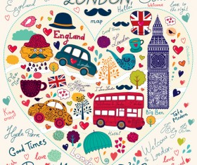 Hand drawn london romantic elements vector 04