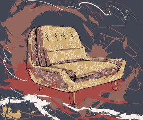 Hand drawn sofa armchairs vector graphics 02