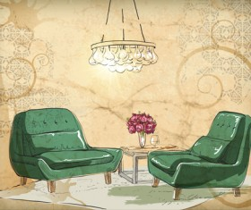 Hand drawn sofa armchairs vector graphics 03