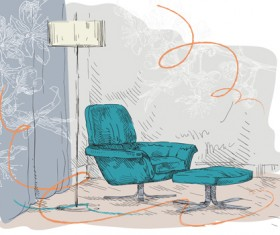Hand drawn sofa armchairs vector graphics 04