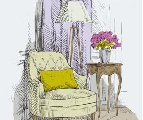Hand drawn sofa armchairs vector graphics 05