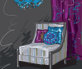 Hand drawn sofa armchairs vector graphics 06