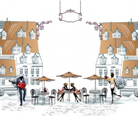Hand drawn streets cafe 01 vector