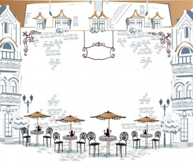 Hand drawn streets cafe 02 vector