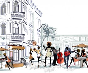 Hand drawn streets cafe 03 vector