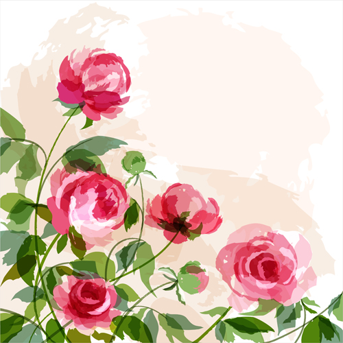 Hand drawn watercolor peonies vectors