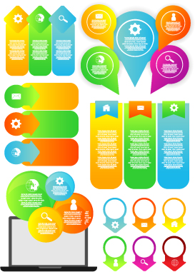 Infographic desing elements with banner vector material 01