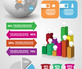 Infographic desing elements with banner vector material 04