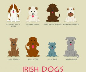 Irish dogs vector icons material