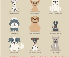 Latin american dogs icons vector