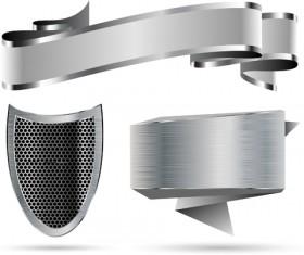 Metallic shield and ribbon vector material