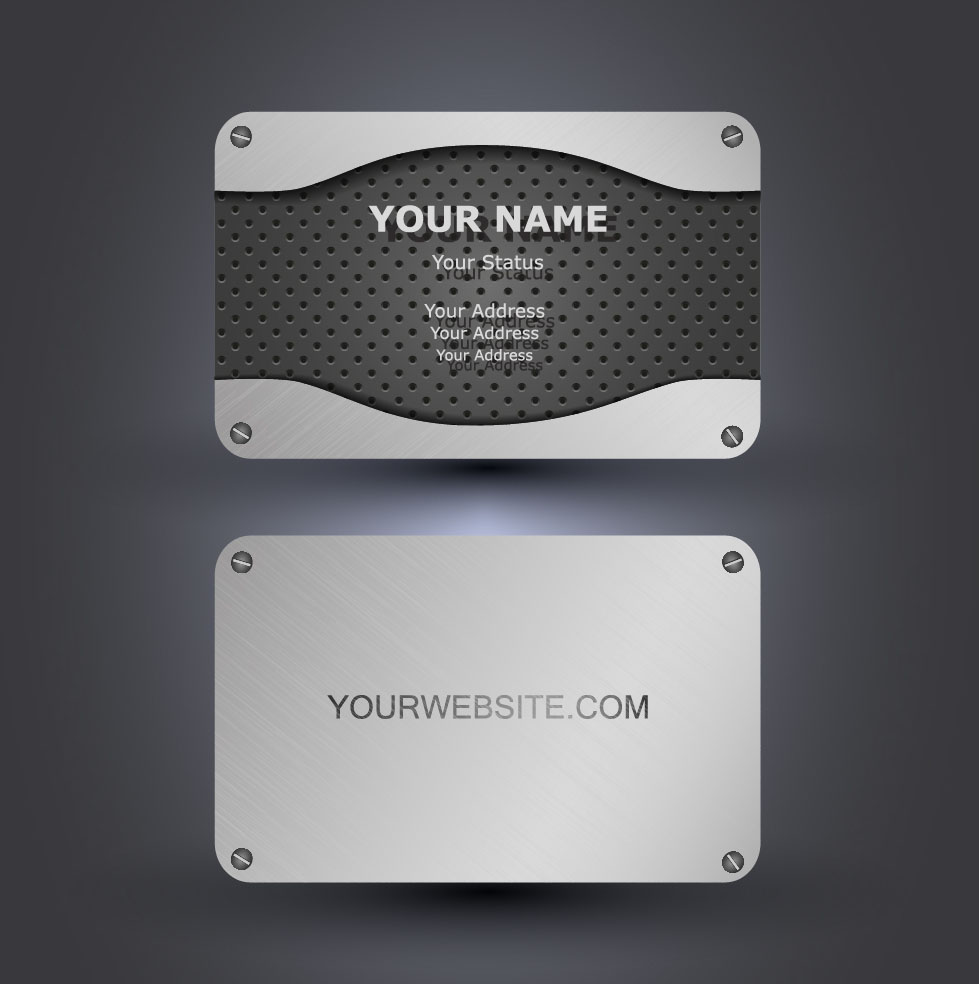 Metallic style business cards vectors 02 free download