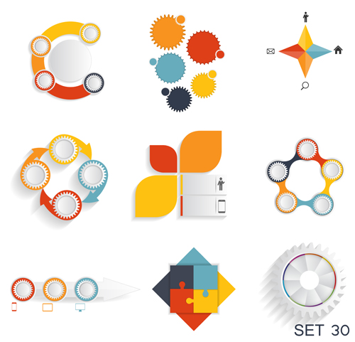 Modern infographics elements illustration vector 01