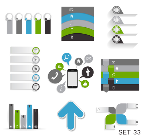 Modern infographics elements illustration vector 02