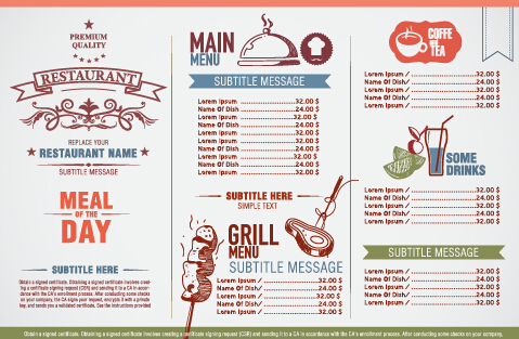 Modern Restaurant Menu List Design Vectors - Vector Cover Free