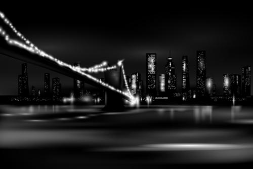 Night city skyscrapers vector material 02