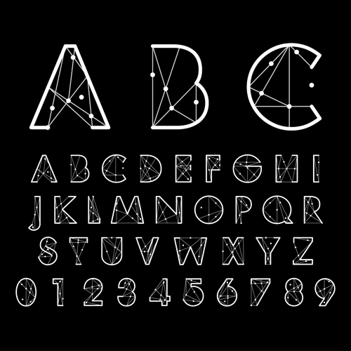 Number and alphabet creative design vectors 02 - Vector ...