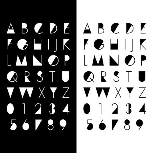 Number and alphabet creative design vectors 04 - Vector ...
