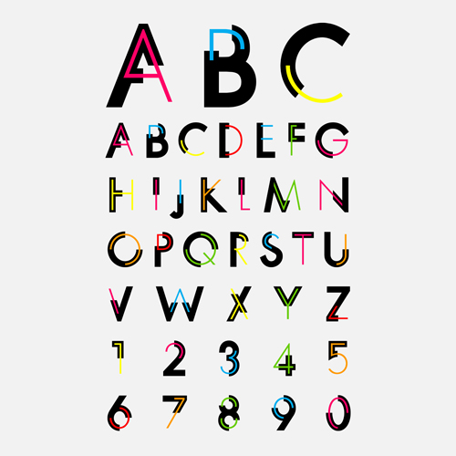 Number and alphabet creative design vectors 05 - Vector ...