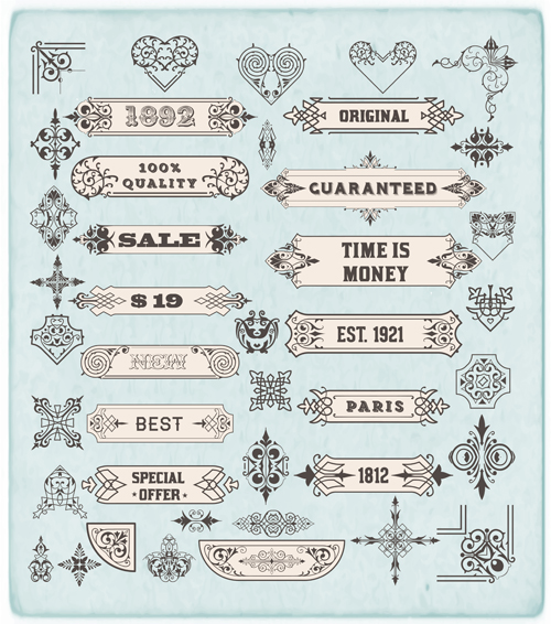 Ornamental elements and labels vintage style vector 02