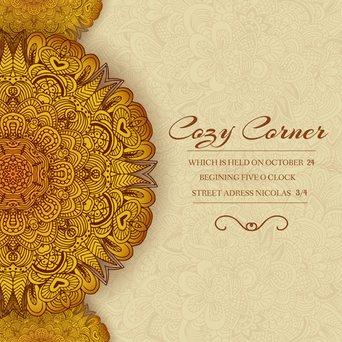 Ornate retro floral cards vector material 01