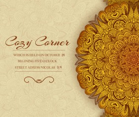 Ornate retro floral cards vector material 03
