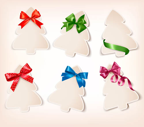 Paper christmas tree with ribbon cards vector 01