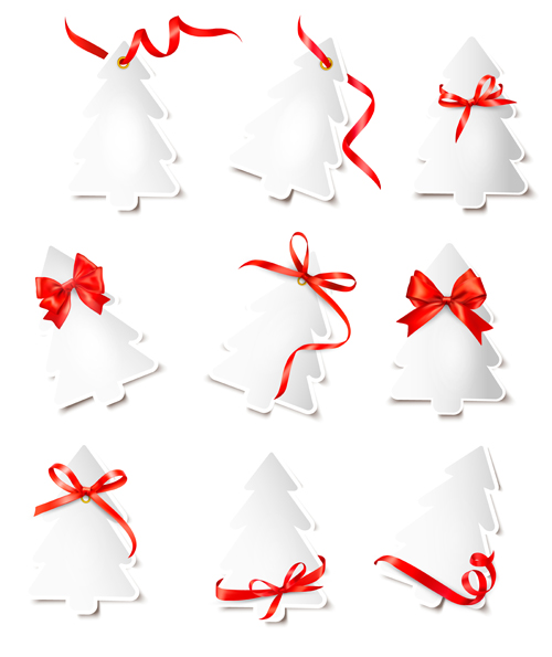 Paper christmas tree with ribbon cards vector 02