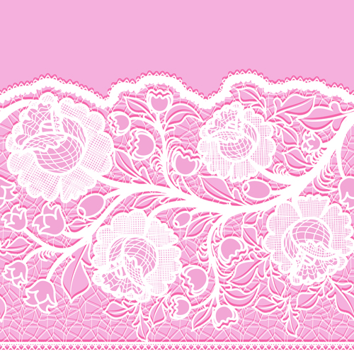 Pink background with white Lace vector material 02